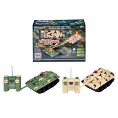 Tank RC 2ks 14x7x7cm na baterie 27MHZ a 40MHz se světlem se zvukem v krabici