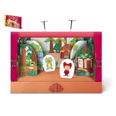 Divadélko papírové loutkové divadlo s oponou 6ks postaviček v krabici 34x23x4cm