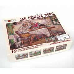 Kostky kubus Jak dědeček měnil dřevo 12ks + předloha s pohádkou v krabičce 16,5x12,5x4cm