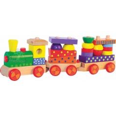 WOODY dřevěný skládací vlak s potiskem, světlo, zvuk