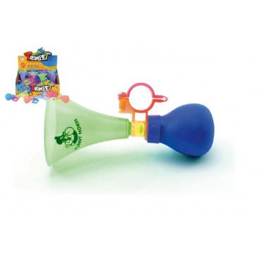 Klakson trumpeta na kolo plast 14cm asst 3 barvy