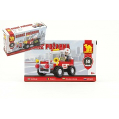 Stavebnice Dromader Hasiči Auto 21201 58ks v krabici 16,5x9,5x4,5cm