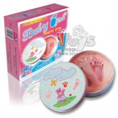Baby Otisk holčička - kulatá kovová krabička růžová
