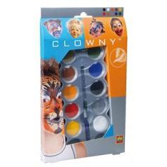 SES Clowny Aqva barvy malování na obliček + štětec