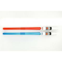 Meč svítící 2ks plast 47cm skládací na baterie v sáčku