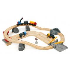 BRIO 33210 Vláčkodráha s nákladním vlakem, podjezdem a silnicí