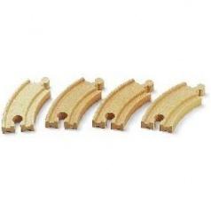 BRIO 33337 Krátké zatáčky, 90 mm, 4 ks příslušenství k vláčkodráhám