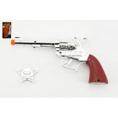 Pistole - Kolt  kovbojský plast 22cm + šerifská hvězda na baterie 3xAG13 se zvukem na kartě