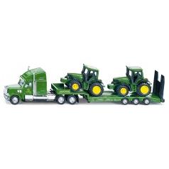 SIKU Farmer - Tahač s podvalníkem a traktory John Deere, měřítko 1:87
