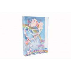 Teddies Súprava krásy jednorožec náušnice,náhrdelník,sponky do vlasov,prstienky 2ks plast v krabičke 17,5x25