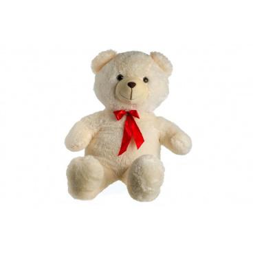 Teddies Medvěd plyš 100cm s mašlí béžový 0+