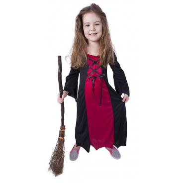 Rappa Dětský kostým bordó čarodějnice / Halloween (M)