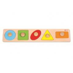 teddies Vkládačka 5ks dřevo geometrické tvary pro nejmenší 45x9x2cm