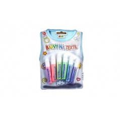 Farby na textil perleťové 6ks na karte 14x20cm