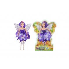 Panenka víla s křídly fialové šaty plast 30cm v blistru