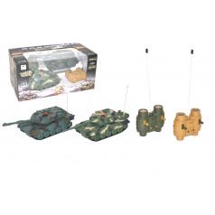 Wiky Tank RC 2ks 20cm tanková bitka + dobíjacia pack 27MHZ so zvukom sa svetlom v krabici 34x16x20cm