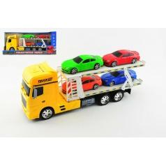 Teddies Auto přepravník + 4 auta plast 45cm na setrvačník asst 3 barvy v krabici
