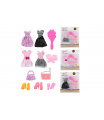 Teddies Šaty/Oblečky na panenky s doplňky 4 druhy na kartě 24x27cm