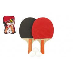 Teddies Sada stolní tenis/ping pong dřevěná 24cm s míčky v pouzdře