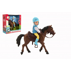 Teddies Kôň +bábika/panáčik džokej plast 20cm v krabici 23x23x9,5cm