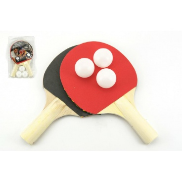 Teddies Sada stolní tenis 2 pálky + 3 míčky na kartě 18x29cm