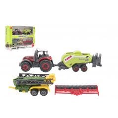 Teddies Sada farma traktor s příslušenstvím 4ks kov/plast mix druhů v krabici 21x15x6cm