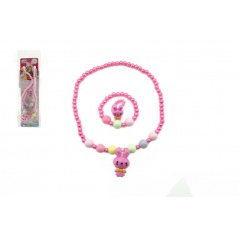 Teddies Náhrdelník a náramek korálky perleťové plast 15cm asst 2 druhy