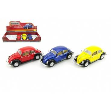 Teddies Auto Kinsmart Volkswagen Classical Beetle kov 17cm volný chod asst 3 barvy