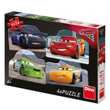Dino Cars 3 Dino dětské puzzle WD Cars 3: Rivalové 4x54D