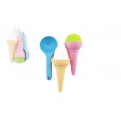 Teddies Formičky Bábovky na písek plast zmrzlina 3ks v síťce 17x10cm 12m+