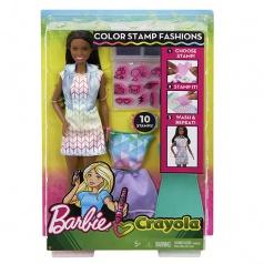 Mattel Barbie D.I.Y. CRAYOLA S MÓDNÍM POTISKEM ČERNOŠKA FRP06