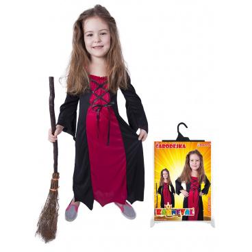 Rappa Dětský kostým bordó čarodějnice/Halloween (S)