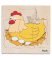 Woody dřevěné puzzle na desce - Vývoj slepice
