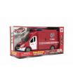 Teddies Auto hasiči plast 28cm na setrvačník na baterie se zvukem se světlem v krabici 32x18x12cm