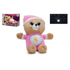 Medvídek Usínáček růžový plyš na baterie se světlem a zvukem v boxu