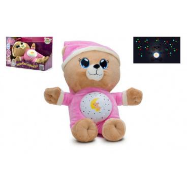 Teddies Medvídek Usínáček růžový plyš na baterie se světlem a zvukem v boxu