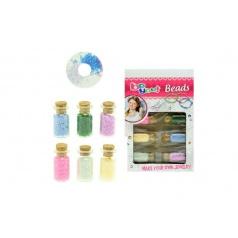 Sada korálky v lahvičkách plast mix barev v krabičce 13x20x2,5cm