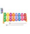 Wiky Xylofon 26cm kov/plast + 2 paličky 3 barvy v krabici 13,5x32x4cm