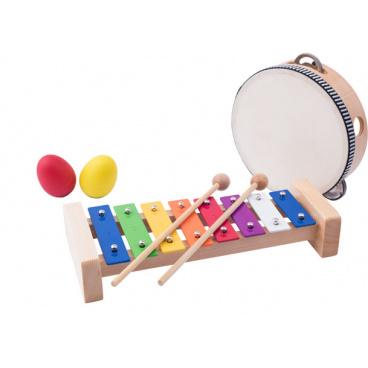 Woody Muzikální set ( xylofon, tamburína/bubínek, triangl, 2 maracas vajíčka )