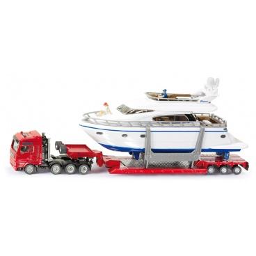 SIKU Super - Přeprava těžkého nákladu s jachtou, 1:87