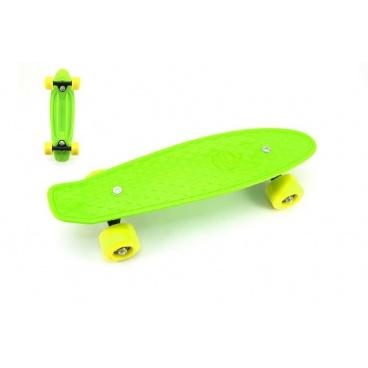 Teddies Skateboard - pennyboard 43cm, nosnost 60kg plastové osy, zelená, žlutá kola