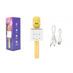 Teddies Mikrofon karaoke kov 25cm nabíjení přes USB zlatý v krabici