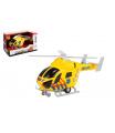 Teddies Vrtulník záchranáři 20cm plast na setrvačník na baterie se světlem se zvukem v krabici 23x13x10cm