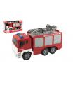 Teddies Auto hasiči stříkací vodu 32cm plast na setrvačník na bat. se zvukem se světlem v krabici 35x21x14cm