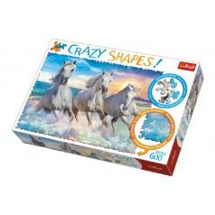Trefl Puzzle Koně Cválající 600 dílků Crazy Shapes 68x48cm v krabici 40x27x6cm