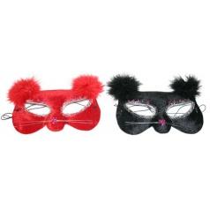 Karnevalová maska oční kočka s peřím, 2kusy