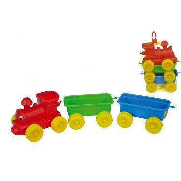 Teddies Dětský plastový vláček + 2 vagony v síťce