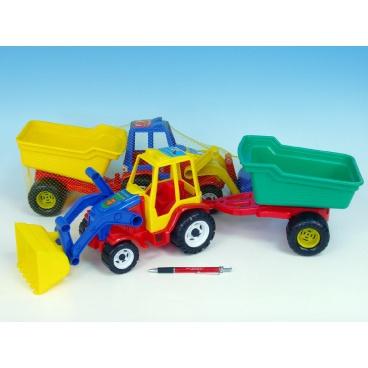 Teddies Traktor nakladač s valníkem plast 64cm asst 3 barvy v síťce