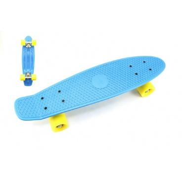 Teddies Skateboard - pennyboard 60cm nosnost 90kg, kovové osy, modrá barva, žlutá kola