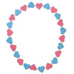 Detoa Detský náhrdelník s ružovými a modrými srdiečkami